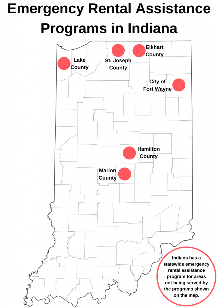 Map of Emergency Rental Assistance Programs in Indiana